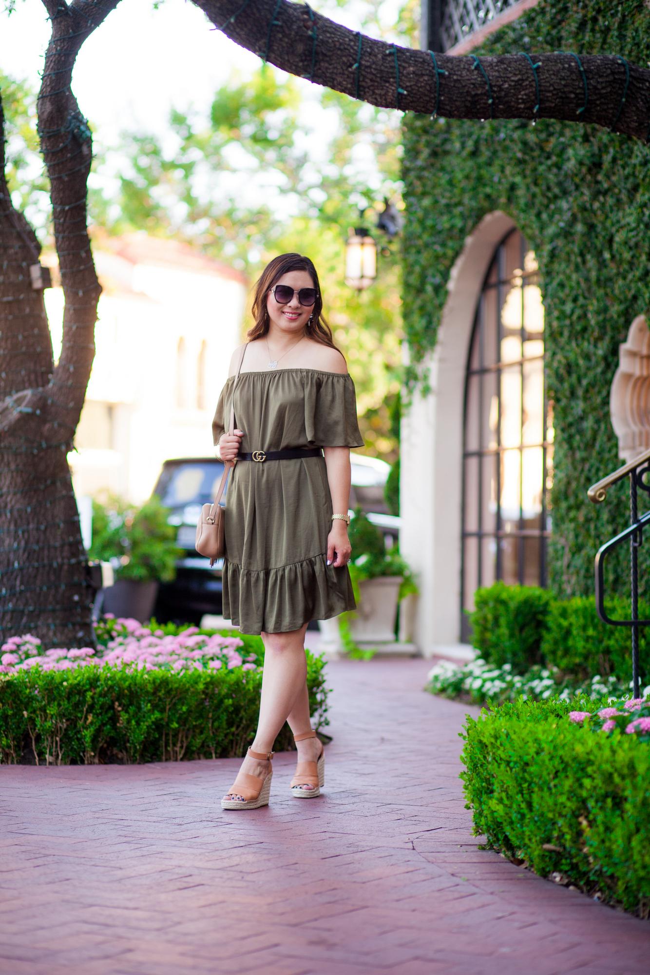 Stitch Fix Goldray - Arabella Off the Shoulder Satin Dress