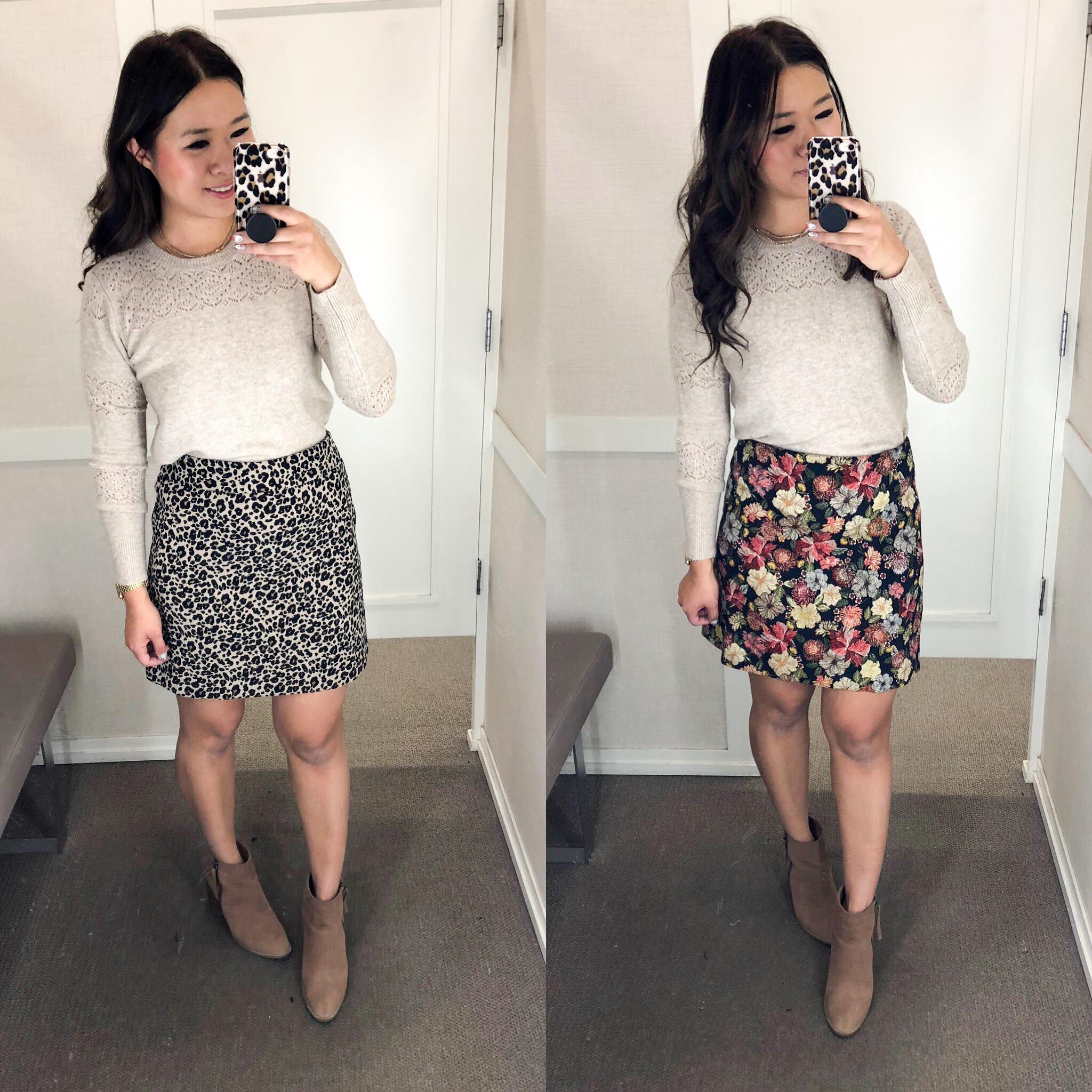 5dbb4b31cc Lacey Pointelle Sweater (Size Small) // Leopard Jacquard Pocket Skirt (Size  6) // Floral Jacquard Shift Skirt (Size 6)