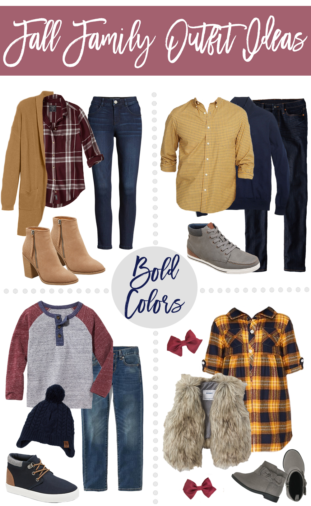 68a04f0cf36 Fall Family Outfit Ideas - Bold Color   Neutral Color Options ...