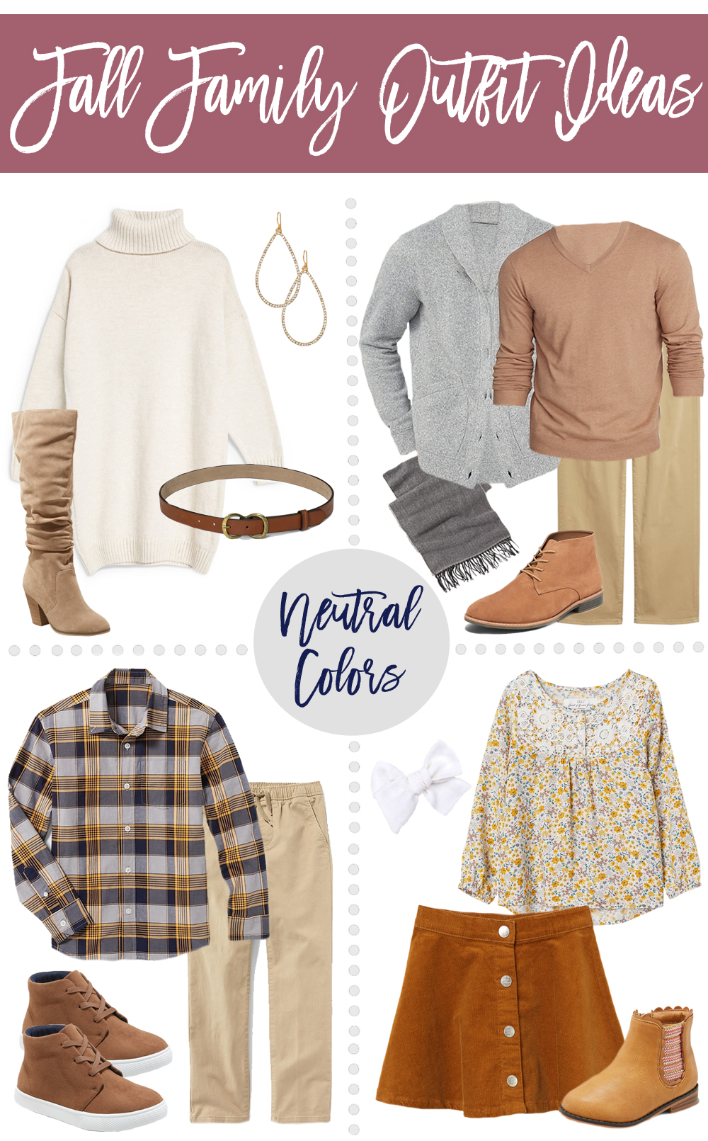 Fall Family Outfit Ideas - Bold Color & Neutral Color ...