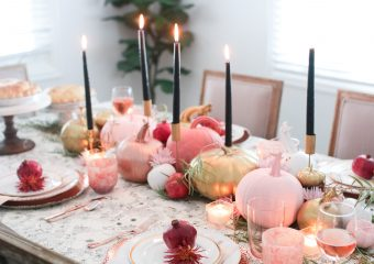 Pink and Gold Fall / Thanksgiving Tablescape