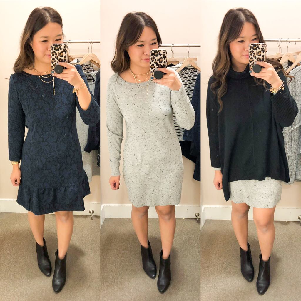 7df1c201f67 Floral Jacquard Flounce Dress (Size Small)    Flecked Cutout Back Sweater  (Size Small)    Poncho Turtleneck Sweater (Size Small)