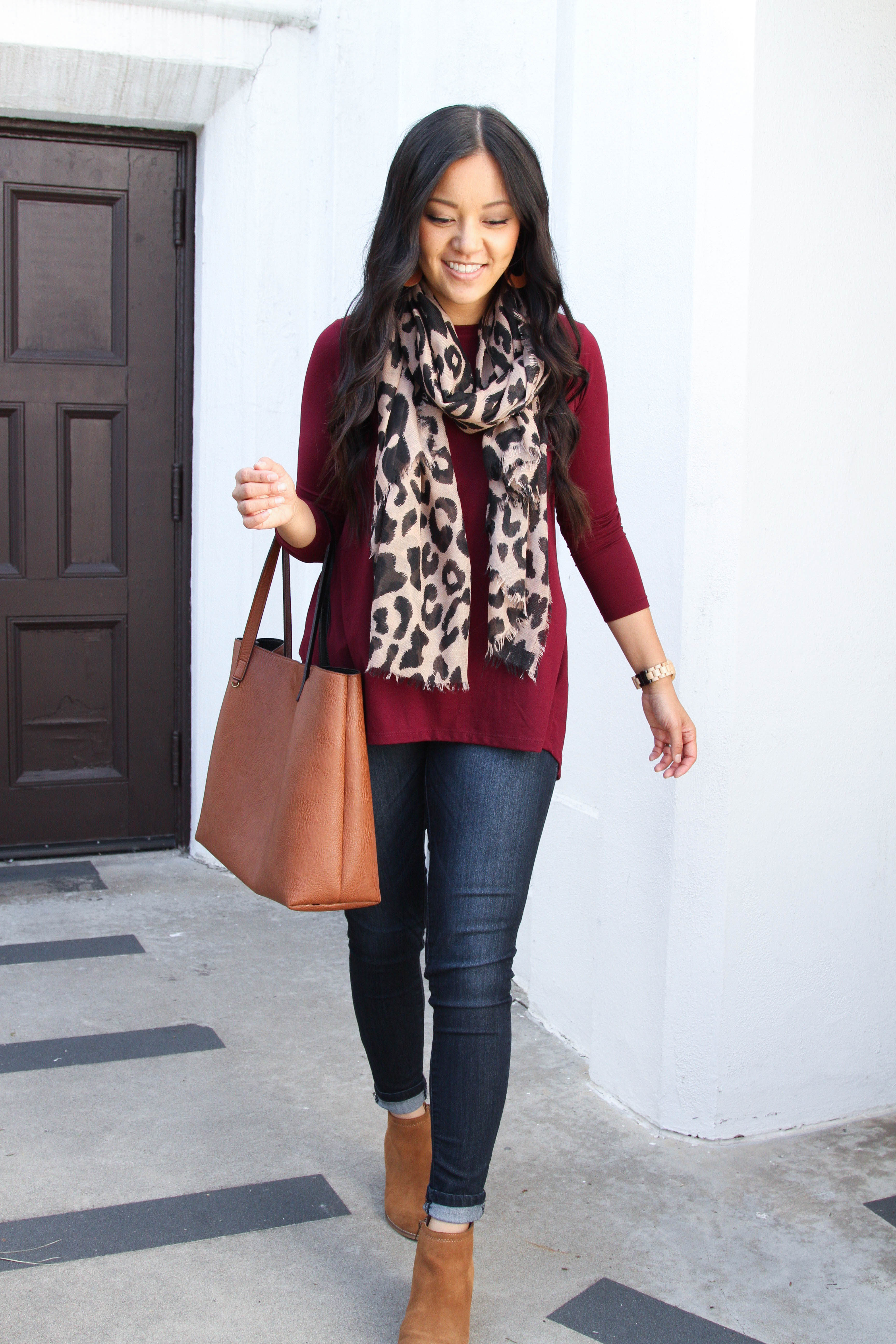 78e15d24e4 Scarf – A leopard scarf is a great way to add some pizzazz to an outfit.  With a leopard scarf
